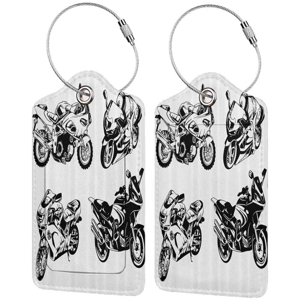 Multi-patterned luggage tag Motorcycle Decor Cartoon Motorbike Speed Race Exciting Sport Hobby Latest Model Transportation Print Double-sided printing Orange Black W2.7 x L4.6