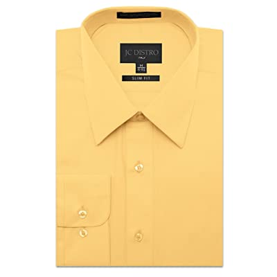 JC DISTRO Men's Slim Fit Solid Dress Shirts Double-Button Cuffs (Big at Men's Clothing store