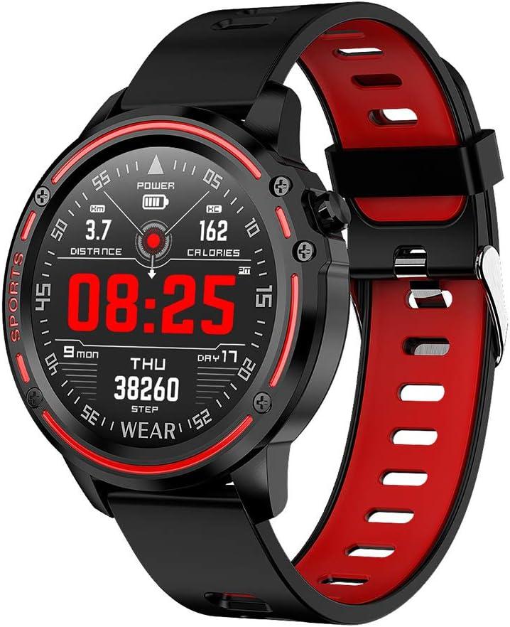 Reloj Inteligente con Monitor de Ritmo Cardíaco Smartwatch con Pantalla Táctil IP68 a Prueba de Agua con Monitor de Sueño y Notificación de Llamadas por SMS Reloj Deportivo para Android,Rojo