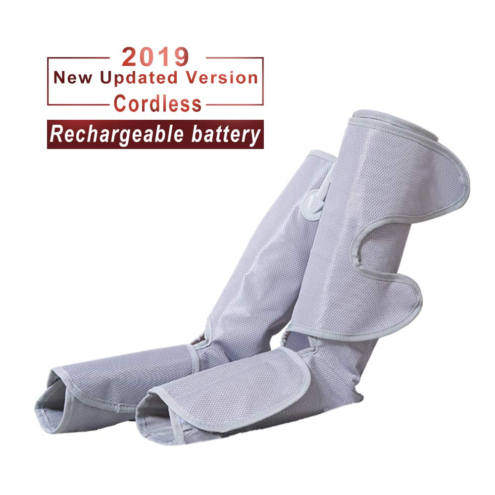 Konliking Air Compression Leg Massager for Foot Calf Massage with Portable Handheld Controller Improve Blood Circulation - 2 Modes & 3 Intensities Portable (Grey)