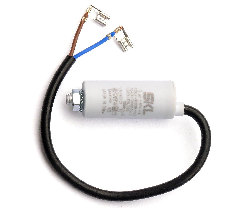 MKP Kondensator 3,0/µF 400//450VAC mit fest angeschlossenem Anschlu/ßkabel verwendbar als Betriebskondensator oder Anlaufkondensator Anlasskondensator Wickel aus selbstheilender metallisierter Polypropylenfolie im Kunst Motorkondensator 3uF