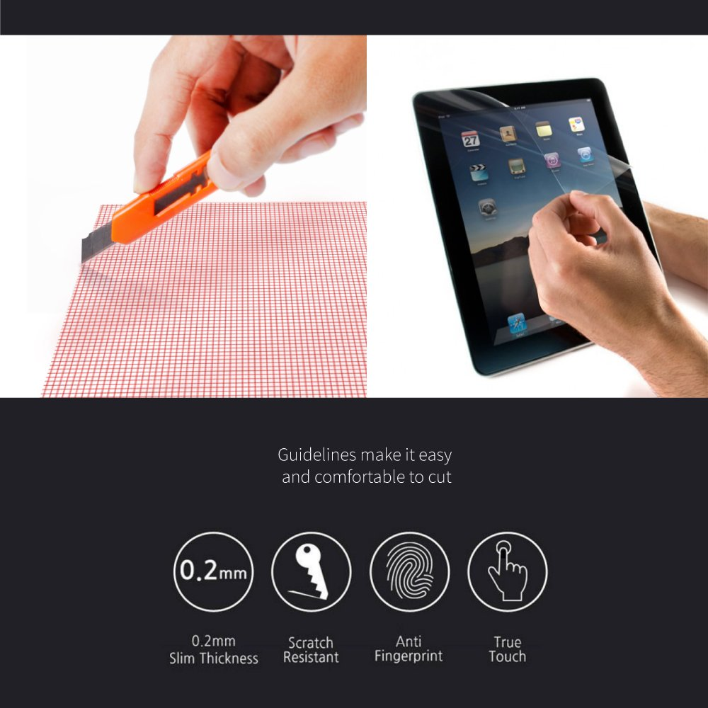 RED SHIELD Universal Screen Protector 13'' for Tablet, Smartphone, Smartwatch, Gaming Device, GPS. High Definition Crystal Clear Anti-Scratch, Anti-Fingerprint Film. Easy to Cut with Guidelines. [3 PK] by RED SHIELD