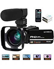 """Video Camera, ACTITOP Camcorder FHD 1080P 24MP IR Night Vision 3"""" LCD Touch Screen YouTube Vlogging Camera Camcorder With External Microphone, Wide Angle Lens, Remote Control and Lens Hood"""