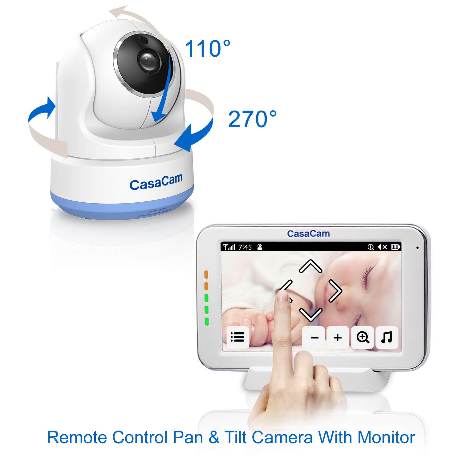 CasaCam BM200 Video Baby Monitor with 5'' Touchscreen and HD Pan & Tilt Camera, Two Way Audio, Lullabies, Nightlight, Automatic Night Vision and Temperature Monitoring Capability (1-cam kit) by CasaCam (Image #3)
