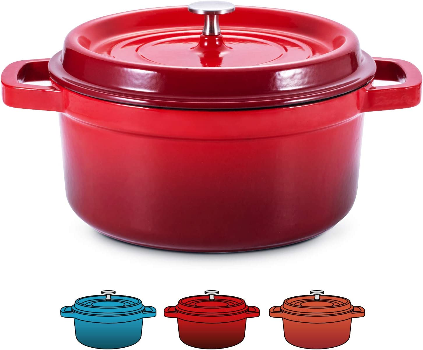 SULIVES Enameled Cast Iron Dutch Oven Bread Baking Pot with Lid,Red,5qt