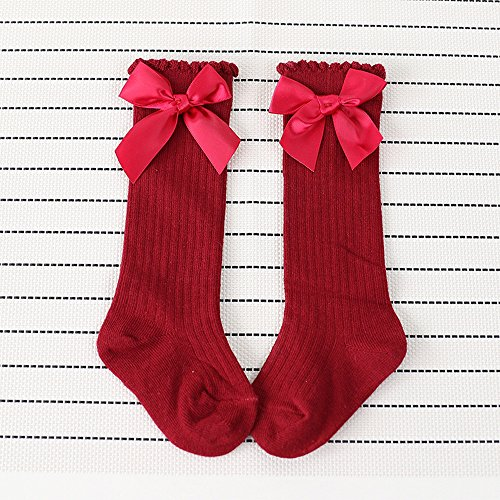 Baby Girl Knee High Long Socks Big Bow Leg Warmer Soft Cotton Lace Sock for 1-4 Year Old Girl (0-2 years, Red) by OVERMAL_Socks (Image #1)
