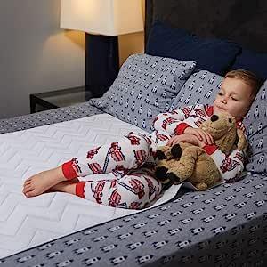 MIGHTY MONKEY - Almohadilla antideslizante para incontinencia de cama, 52 x 34, certificado Oeko Tex, funda impermeable reutilizable, lavable mezcla de algodón suave para cama, niños, ancianos, mascotas