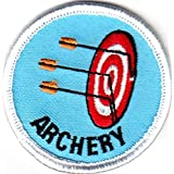 ARCHERY Iron On Patch Games Sports Competition Skill Bow & Arrow Target