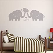 Letters Wall Decor Stickers Three Cute Elephant Family Wall Decal with Love Hearts Quote Art Baby or Nursery Wall Decor Bedroom Decoration