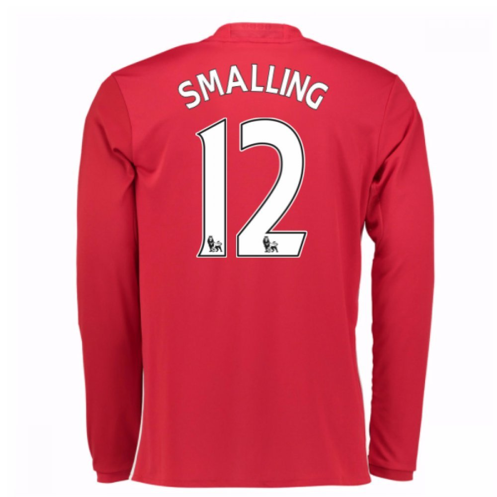2016-17 Man United Home Long Sleeve Football Soccer T-Shirt Trikot (Chris Smalling 12)
