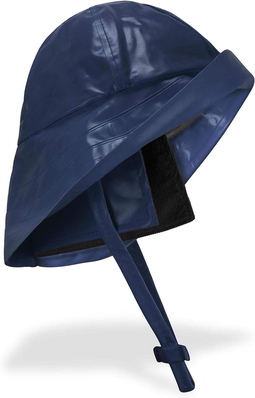 breiter Krempe und Innenfutter Farbe Marine Gr/ö/ße L normani Regenhut S/üdwester mit Kinnband