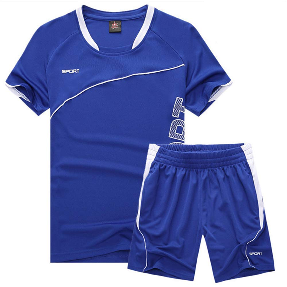 WYQQ Men's Running Quick-Drying Workout Clothes Suit Thin Training Sportswear(Blue,M) by WYQQ