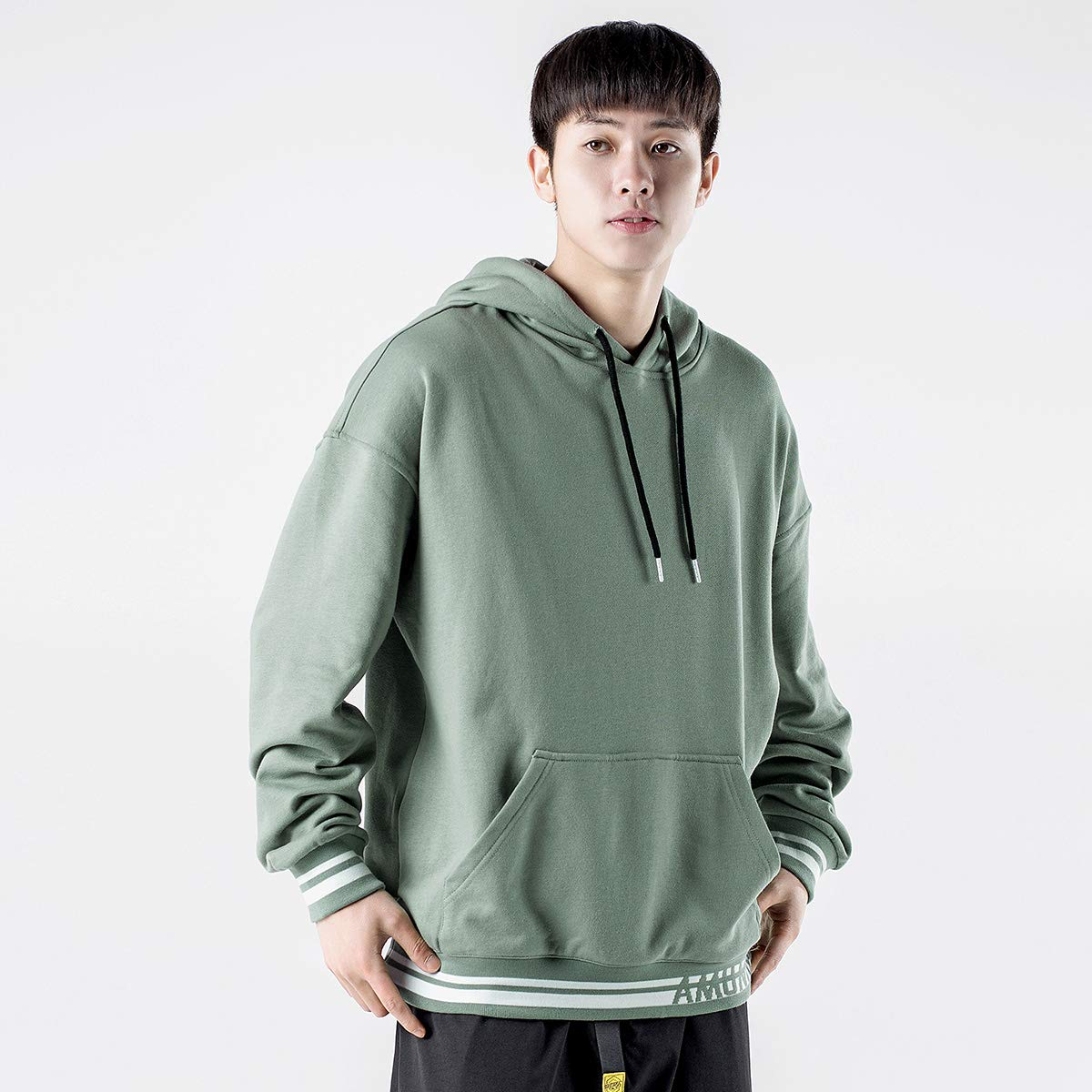 WSDMY Sweatshirt Shirt Pantalon en Tissu Top Coat Section de Base Impression de Couleur Contrastante c/ôtel/é Tendance Chandail Jeunes Hommes d/écontract/é l/âche