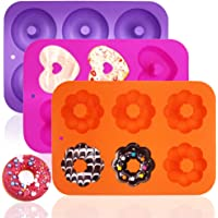3 Pack Silicone Baking Tray Doughnut Maker Moulds, FineGood Cupcake Tray Silicone Muffin Molds Donut Pan Bagel Making…
