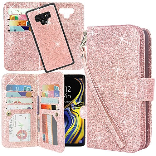 Galaxy Note 9 Case, Lacass Detachable 2 in 1 Glitter Shiny PU Leather Flip Wallet Case with 12 Card Slots and Wrist Strap for Samsung Galaxy Note 9 (Glitter Rose Gold)