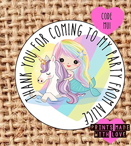 personalised mermaid unicorn party bag stickers thank you for coming