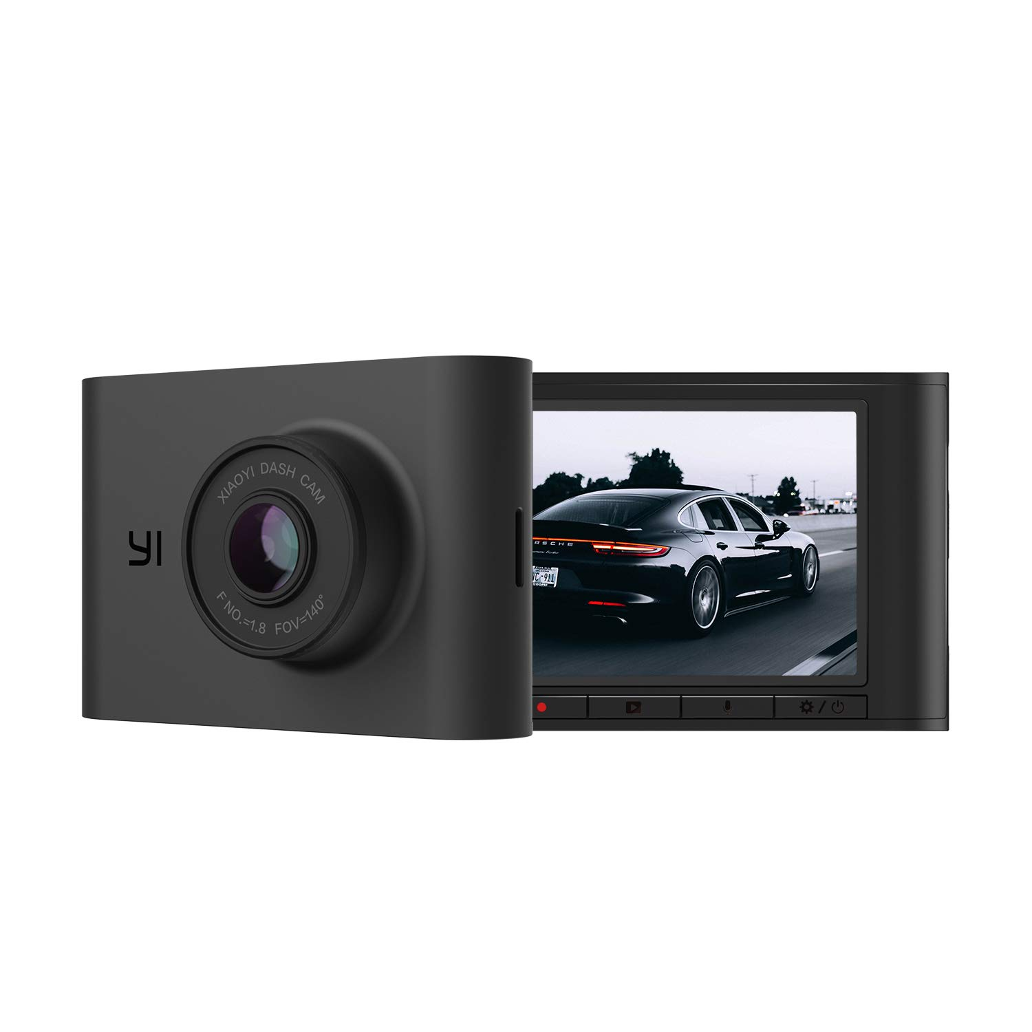 YI Nightscape Dash Cam, 1080p Smart Wi-Fi Car Camera with Heat-Resistant Supercapacitor, Superb Night Vision, Sony Sensor, 140° FOV, 2.4''Screen, Phone App - Black
