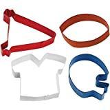 Wilton Colored Cookie Cutter Set, Football Theme, 4-Pack