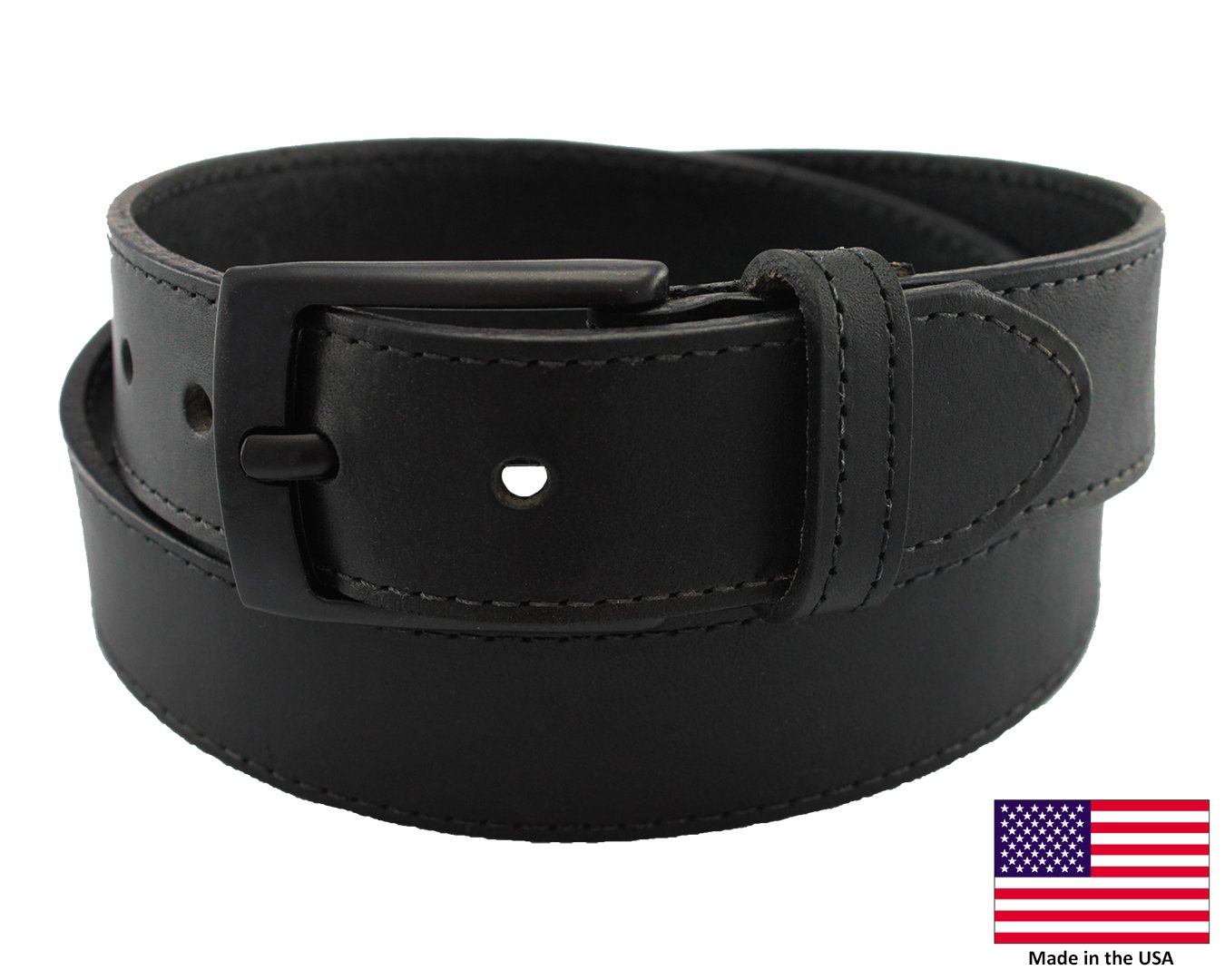 Highliner Made in USA Metal Free Travel Leather Belt by Thomas Bates (40, Black)