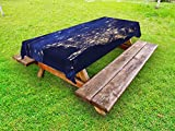 Ambesonne Night Outdoor Tablecloth, Continent America by Night As Seen from Outer Space Vibrant View Planet Earth, Decorative Washable Picnic Table Cloth, 58 X 104 inches, Mustard Navy Blue