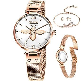 Amazon.com: Reloj analógico de cuarzo para mujer de oro rosa ...