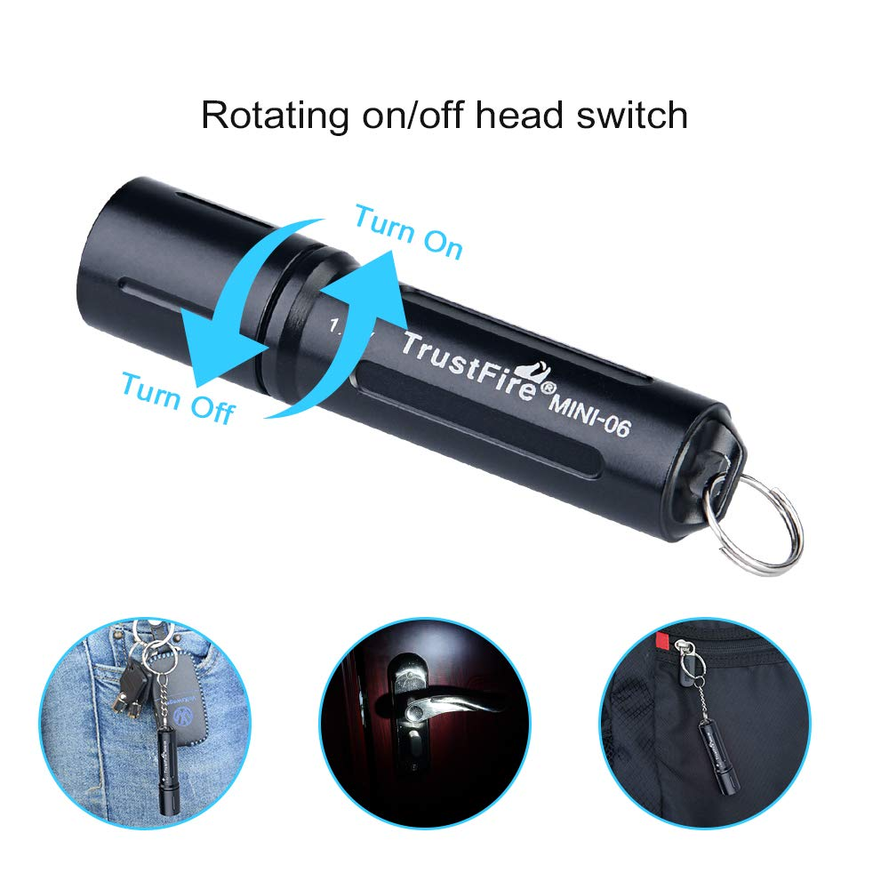 Blue Key Ring Torch MINI-06 EDC Flashlight Compact Keychain Torches 90LM Pocket Flashlight with One AAA Rechargeable Battery Red//Green//Blue//Black//Gold Optional