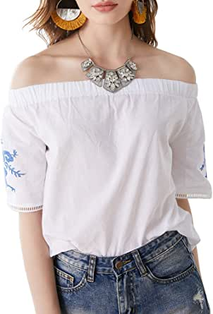 AK Women's Off Shoulder Short Sleeve Embroidery Mexican Blouse Tops Casual Tunic T Shirts