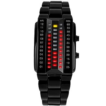 SKMEI - Reloj Digital Impermeable con LED Luz Relojes de Pulsera Resistente al Agua Banda de Acero Inoxidable Watch Waterproof para Mujeres - Negro: ...