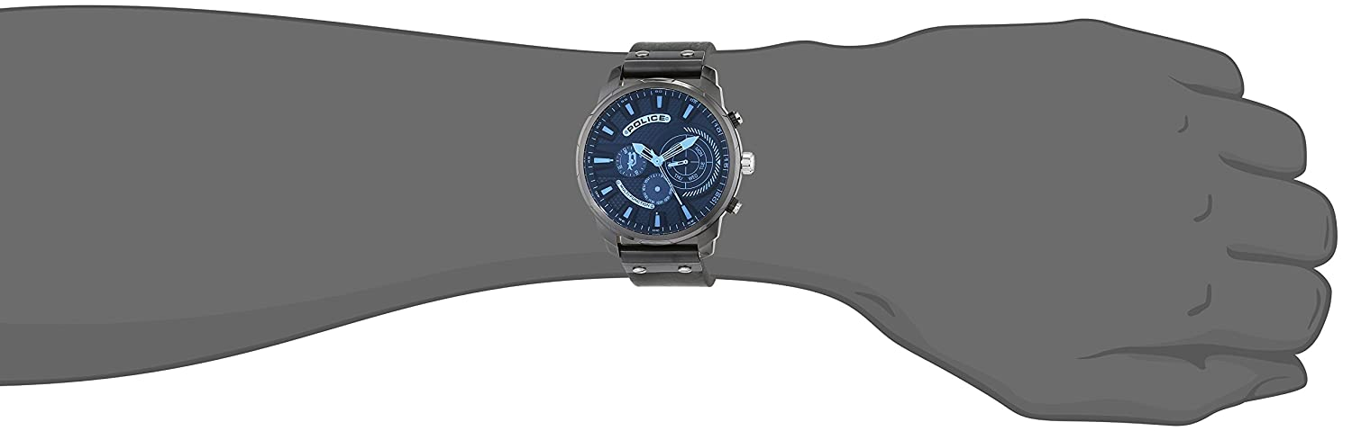Amazon.com: Police Mens Watch LEICESTER PL.15217JSU/02 Date Display Blue Lazer Coat Glass and Grey Gun Case: Watches