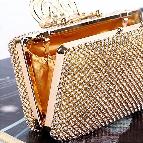 embrayages Sacs de Sacs Lovely à Main Embrayage Gold Femmes et de Main à Color et Couronne Soirée Sac à rabbit Main Gold Sac Cristal la Strass UrBFHU