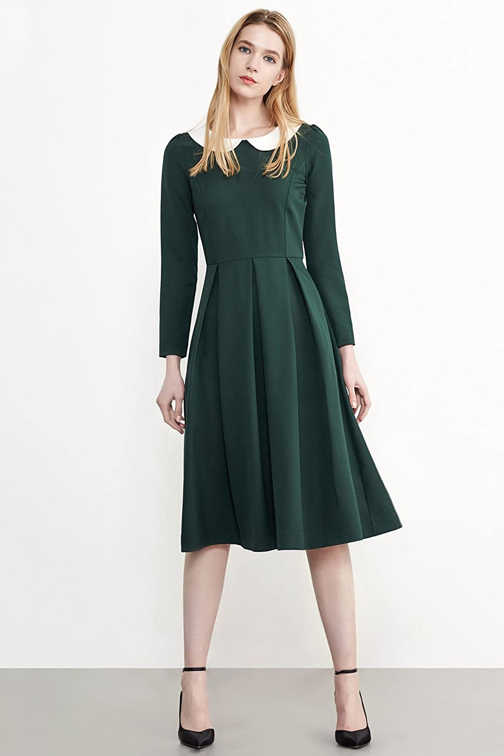 1930s Childrens Fashion: Girls, Boys, Toddler, Baby Costumes Simple Retro Elegant Peter Pan Collar Long Sleeves Casual Skater Swing Dress $19.99 AT vintagedancer.com