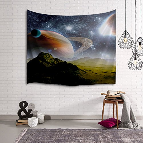 Wall Tapestry, IMEI Multi Purpose Outer Space Wall Hanging Mural Art Decoration Tapestry Sofa Cover Beach Blanket Dorm Decor (51X60 Inch, Earth Moon and Mountains) (Out Wall Tapestry)