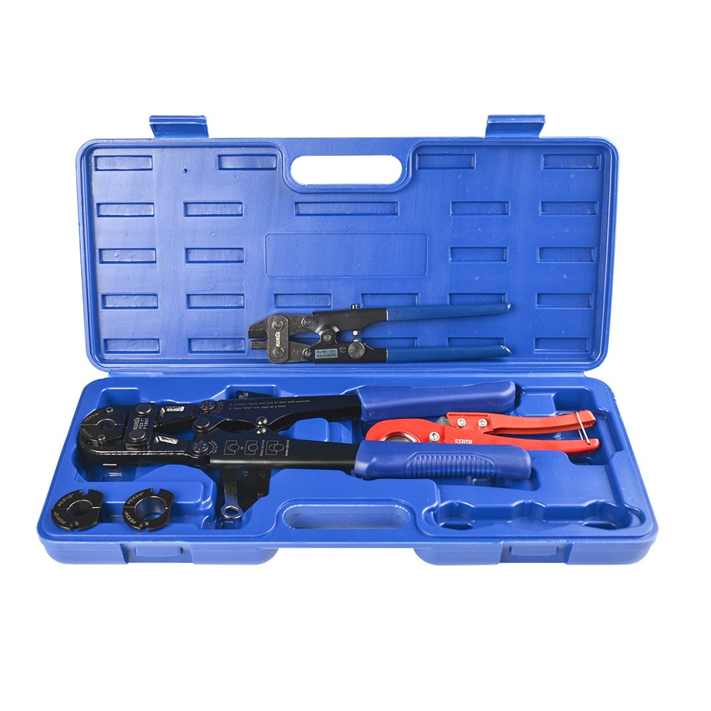 "IWISS F1807 Copper Ring Crimping Tool Kit for 3/8"",1/2"",3/4"",1"" - Free Removal Tool& Pex Pipe Cutter&Gauge- For Sharkbite,Watts,Apollo and All US F1807 Standards"