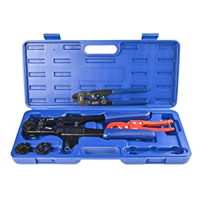"""IWISS F1807 Copper Ring Crimping Tool Kit for 3/8"""",1/2"""",3/4"""",1"""" - Free Removal Tool& Pex Pipe Cutter&Gauge- For Sharkbite,Watts,Apollo and All US F1807 Standards"""