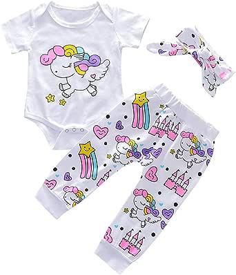 KONFA Toddler Infant Baby Boys Girls 4Pcs Rainbow Outfits Autumn Clothes,Letter Romper+Pants+Hat+Headband Sets