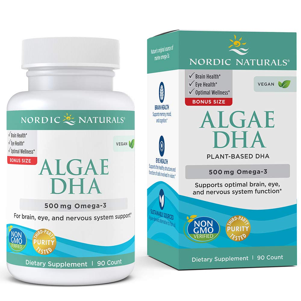Nordic Naturals Algae DHA - Vegetarian DHA Supplement, Suitable for Vegans, Supports Brain, Eye and Nervous System Function, 90 Count by Nordic Naturals