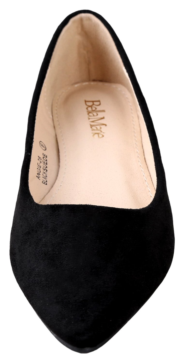 Bella Marie BellaMarie Angie-28 Women's Classic Pointy Toe Ballet Flat Shoes Black Suede 9 B(M) US by Bella Marie (Image #3)