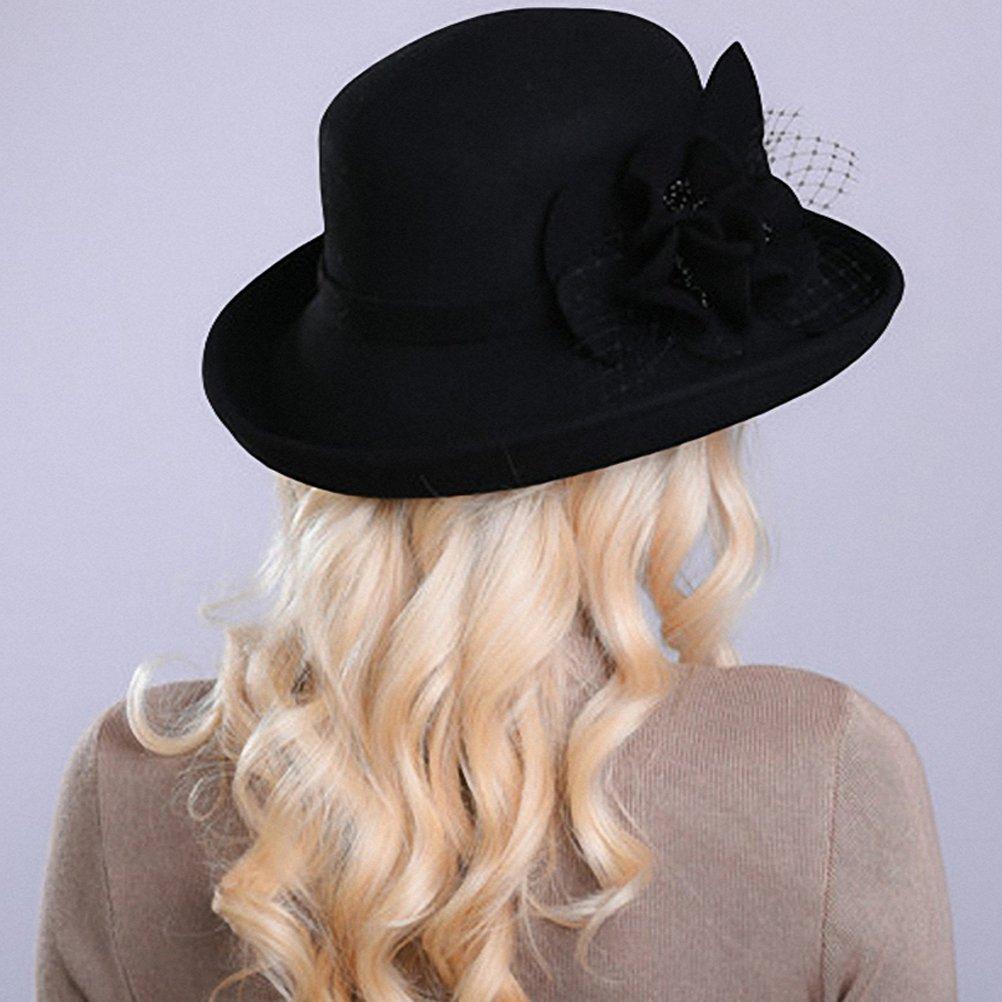 c8cace57c4327 Maitose Women s Wide Brim Wool Felt Bowler Hat Black at Amazon Women s  Clothing store