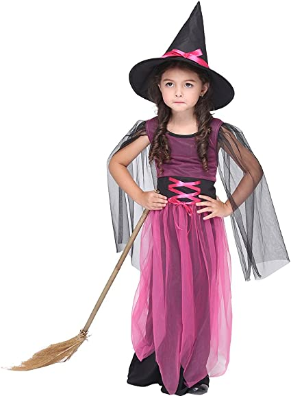 Amazon Com Fizzenn Fairytale Cute Witch Costume For Girl Kids Deluxe Set Halloween Costume For Fancy Dress Sports Outdoors