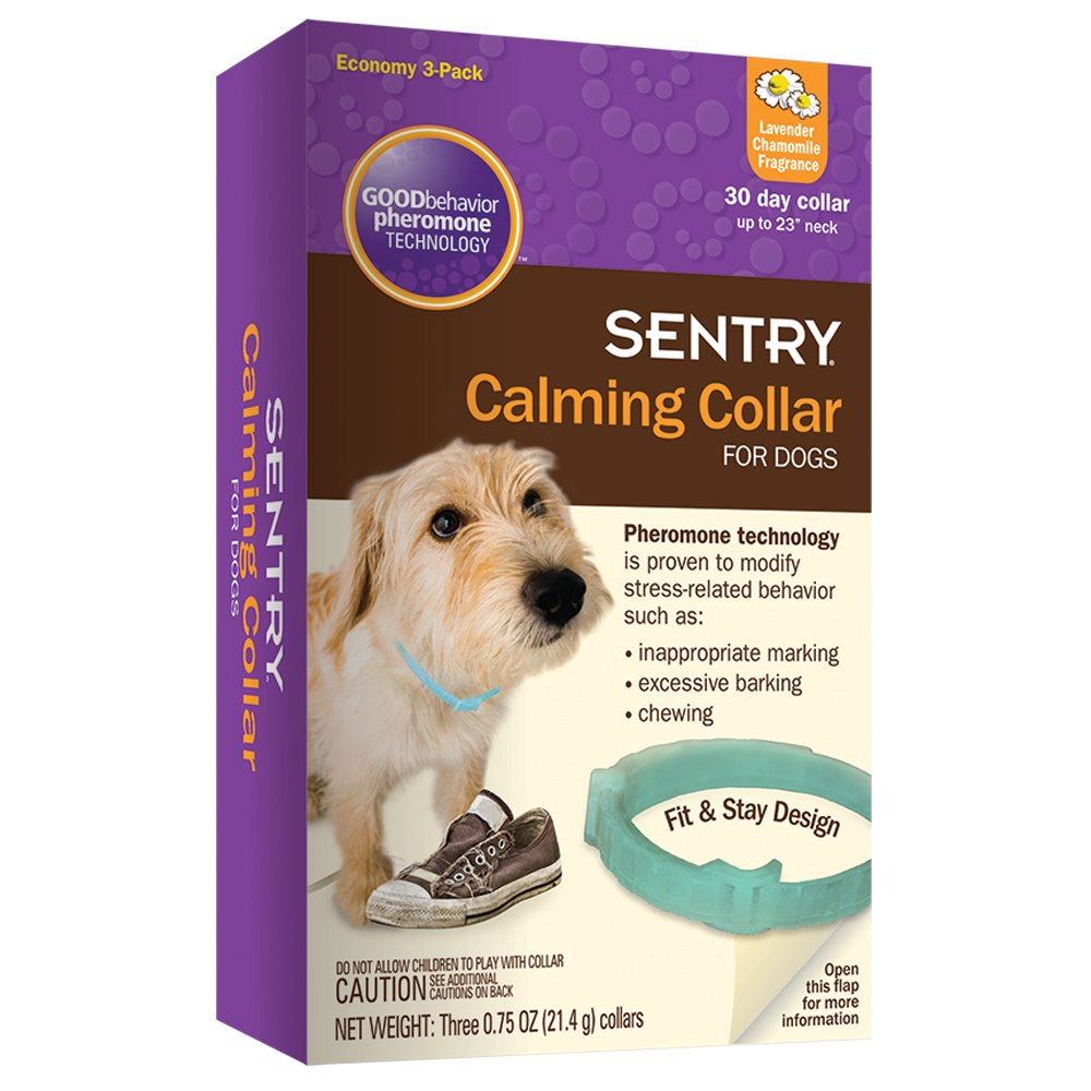 SENTRY Calming Collar for Dogs, Up to 23-Inch Neck, Includes Three Dog Calming Collars, Lavender Chamomile Fragrance by SENTRY Pet Care