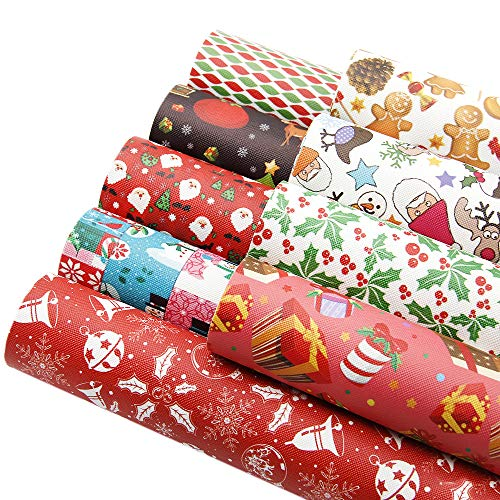 "David accessories Christmas Snow Gifts Printed Leather Sheets Fabric Canvas Back 9Pcs 8"" x 13"" (20cm x 34cm) for Making Bags Crafting DIY Sewing Festival Decor (Christmas Pattern C)"
