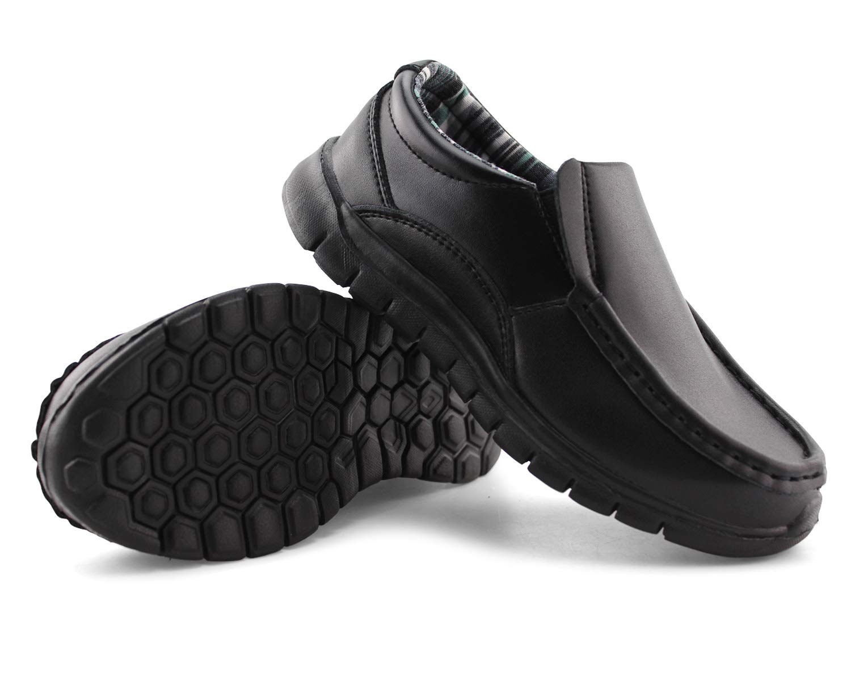Jabasic Boys School Uniform Dress Shoes Slip-on (11M,Black)