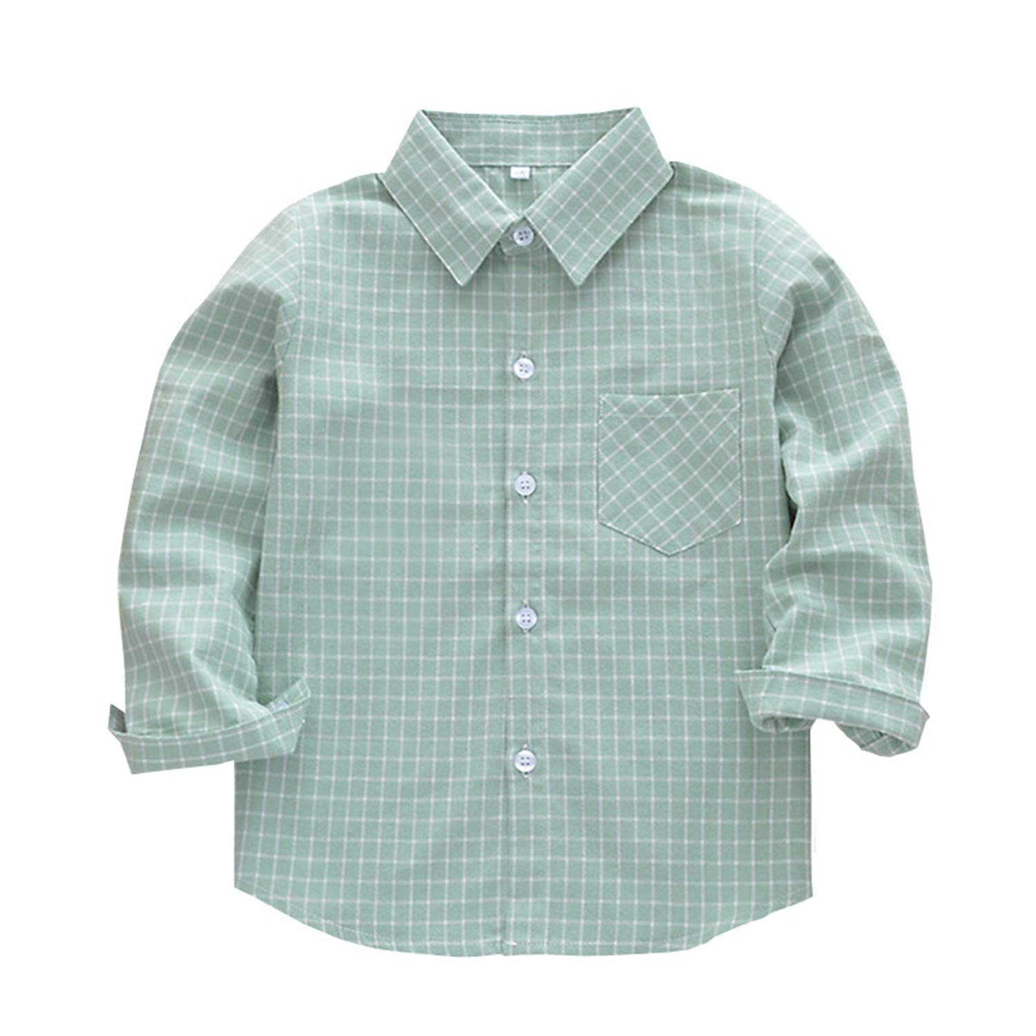 Thinkin Children Boys Shirts Classic Casual Plaid for 3-11 Years Kids Boy Spring//Autumn Wear Clothes