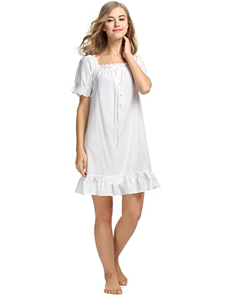9e53173c6d Image Unavailable. Image not available for. Color  L amore Womens Cotton  Victorian Vintage Sleepwear Short Sleeve Martha Nightgown