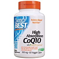 Doctor's Best High Absorption CoQ10 with BioPerine, Vegan, Gluten Free, Naturally Fermented, Heart Health & Energy Production, 100 mg 60 Veggie Caps
