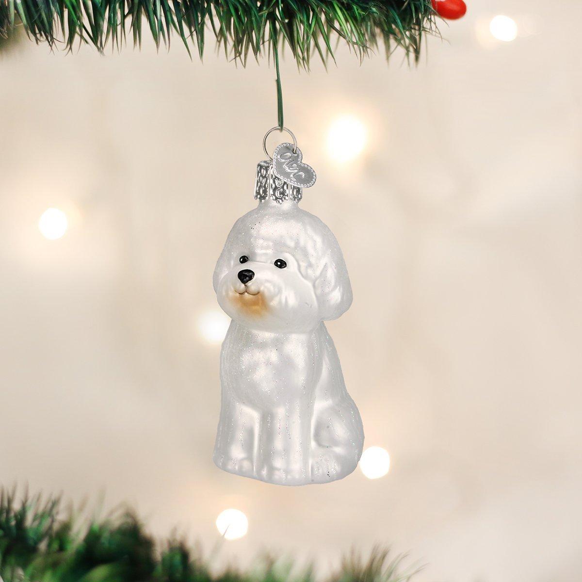 Old World Christmas Bichon Frise Glass Blown Ornament