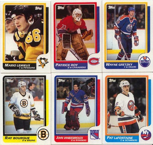 (1986 / 1987 Topps Hockey Complete Near Mint Hand Collated 198 Card Set. Loaded with Stars Including Patrick Roy's Rookie Card, Mario Lemieux, Steve Yzerman, Wayne Gretzky, Ray Bourque, John Vanbiesbrouck, Mark Messier, Paul Coffey and Many Others.)