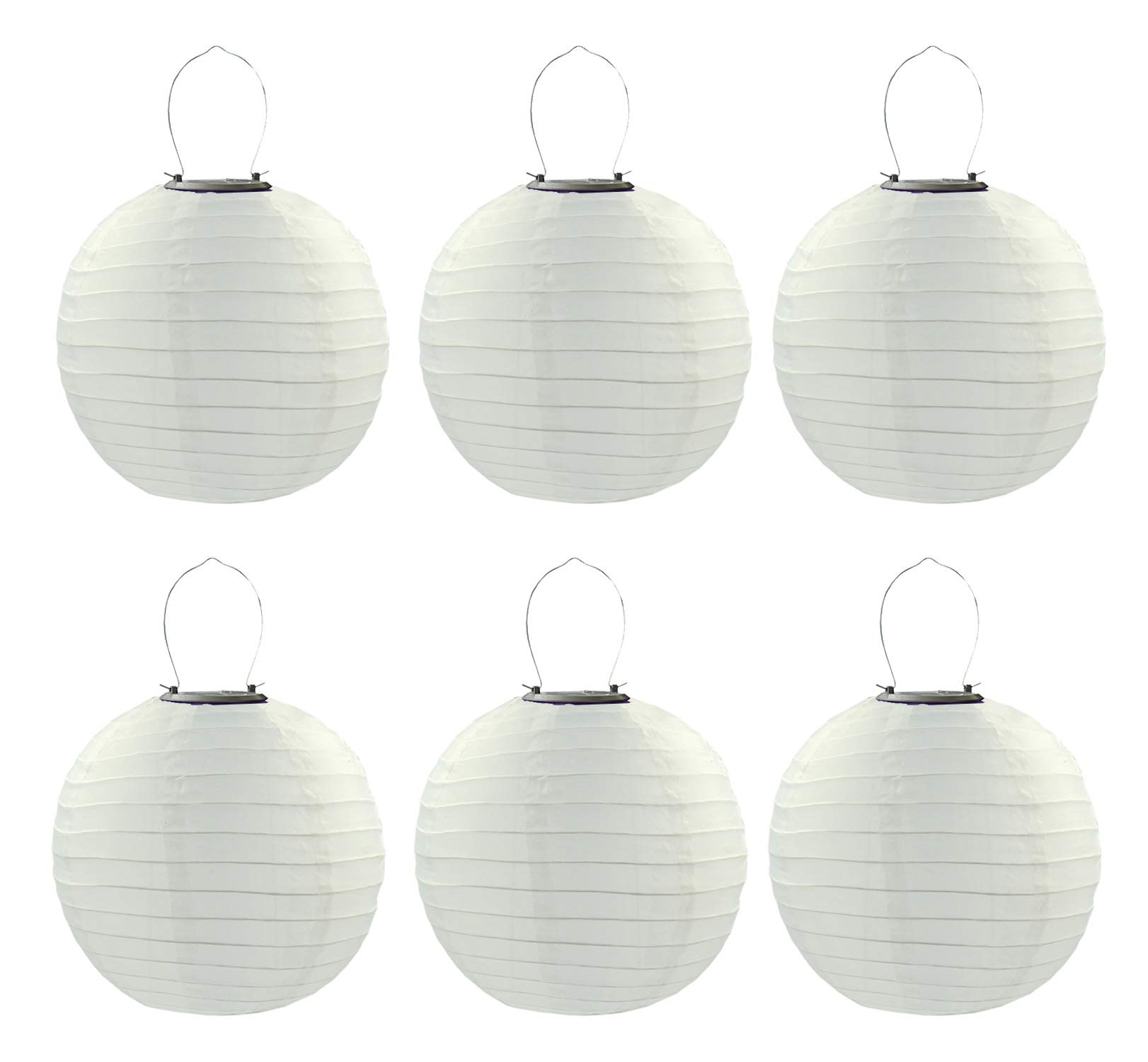 6PCS/Set 30cm Solar Powered Hanging Oriental 12'' 12inch Weatherproof Rechargeable Nylon Chinese Lanterns with 1W 5050SMD LED Light Bulb (White)