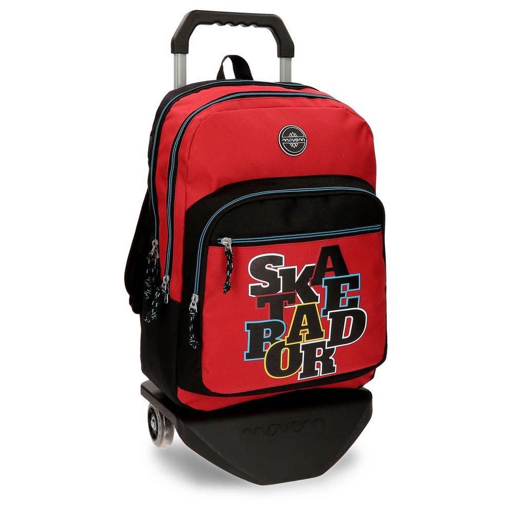 Movom Skateboard Rucksack 2 Fächer mit Trolley Rot