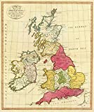 1799 School Atlas   A map of the British Isles, according to the method of the Abbe Gaultier, by Mr. Wauthier, his pupil. 1799.   Antique Vintage Map Reprint